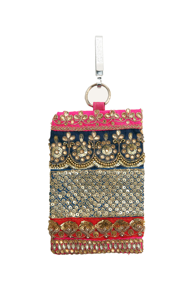 Sequin Embroidered Mobile Phone Pouch with Cerise, Blue, Red Touches