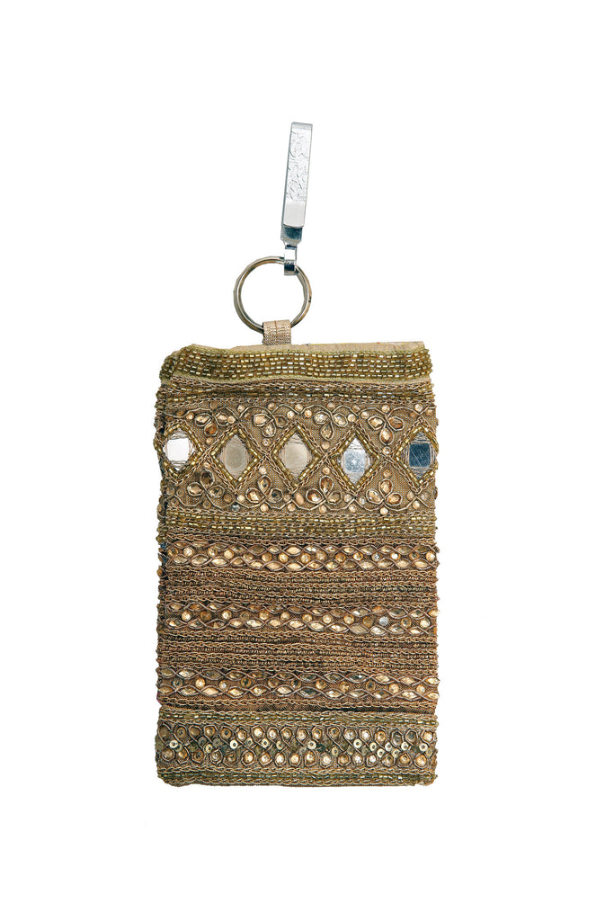 Gold Hand Embellished Mobile Phone Pouch with Mirror Work and Antique Embroidery
