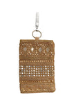 Gold Embellished Mobile Phone Pouch with Mirror Work and Antique Embroidery