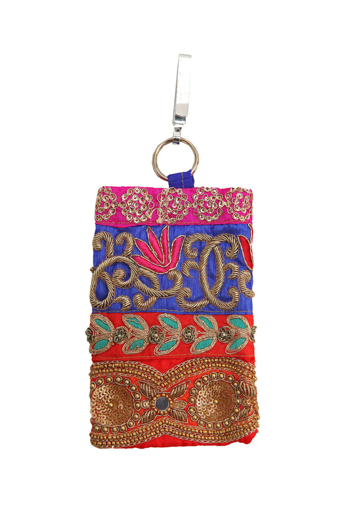 Multi-Colour Embellished Mobile Phone Pouch with Antique Embroidery