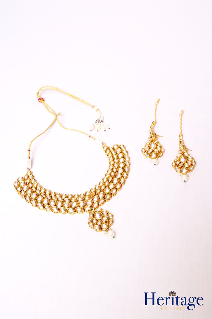 TRADITIONAL KUNDAN NECKLACE WITH EARRINGS & TIKKA