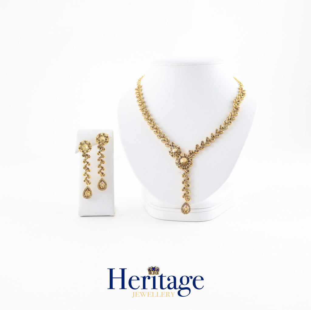 GOLDEN STONE WITH DROP NECKLACE SET