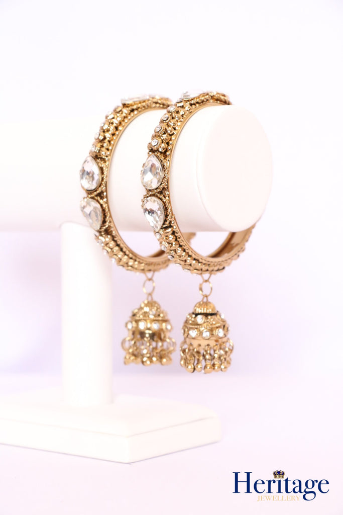 Crystal Bangles with Chumki Drops