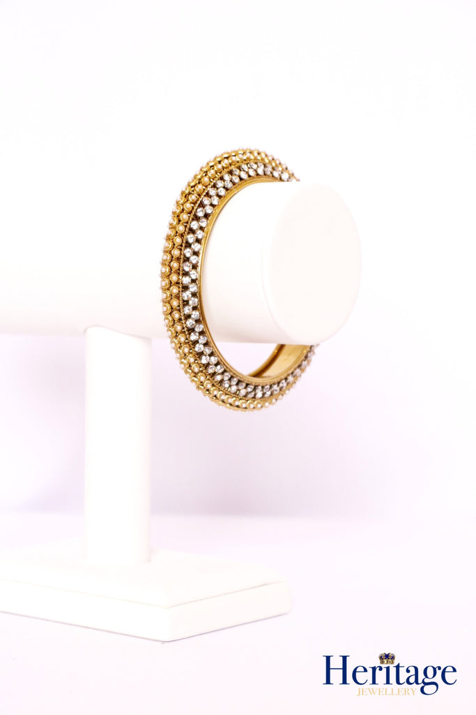 Antique Gold Bangle with Pearls, Gold and Silver Crystals