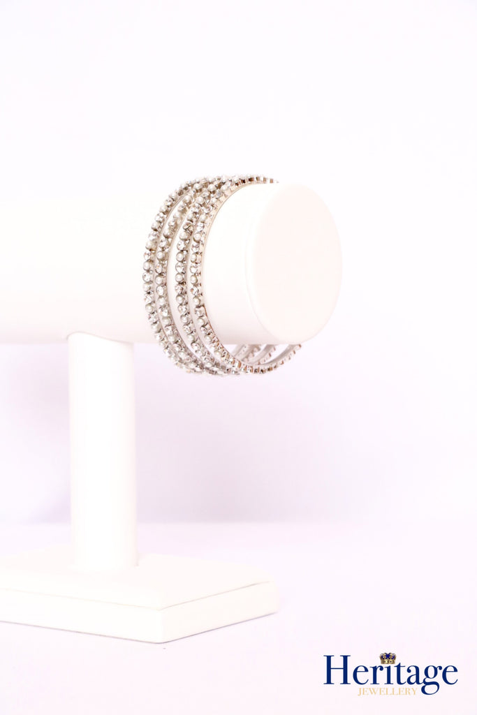 Silver Bangles adorned with Pearls and Silver Crystals