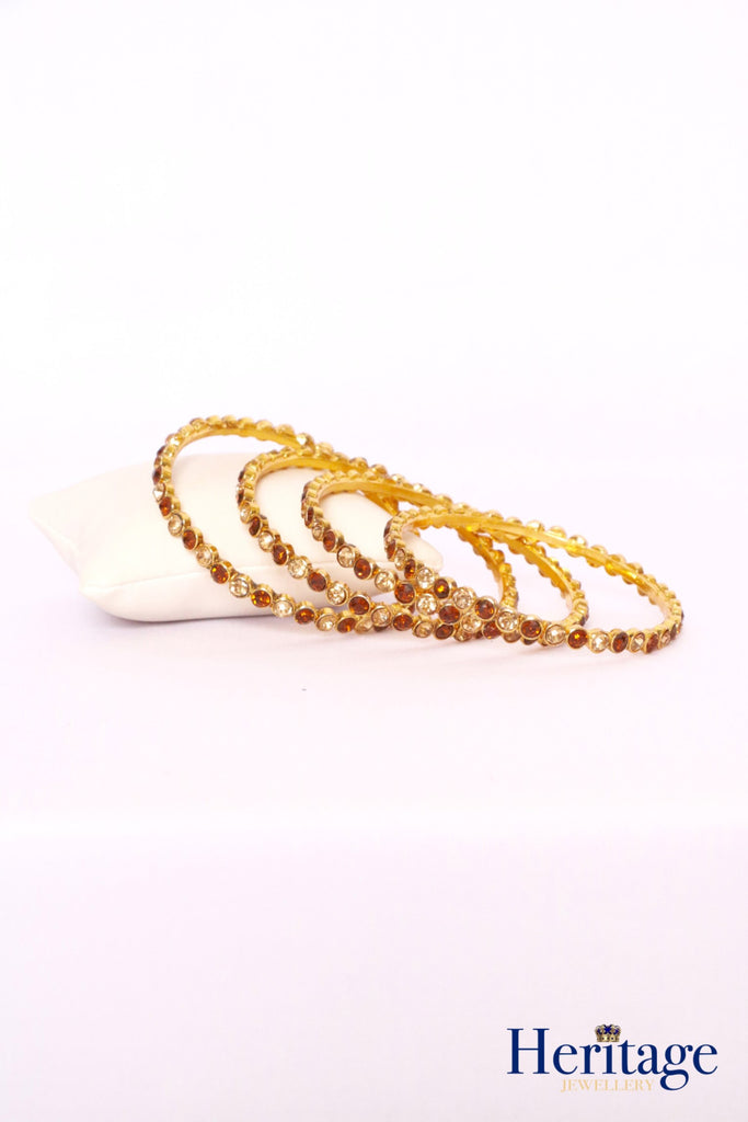 Antique Gold Bangles adorned with Topaz and Gold Crystals