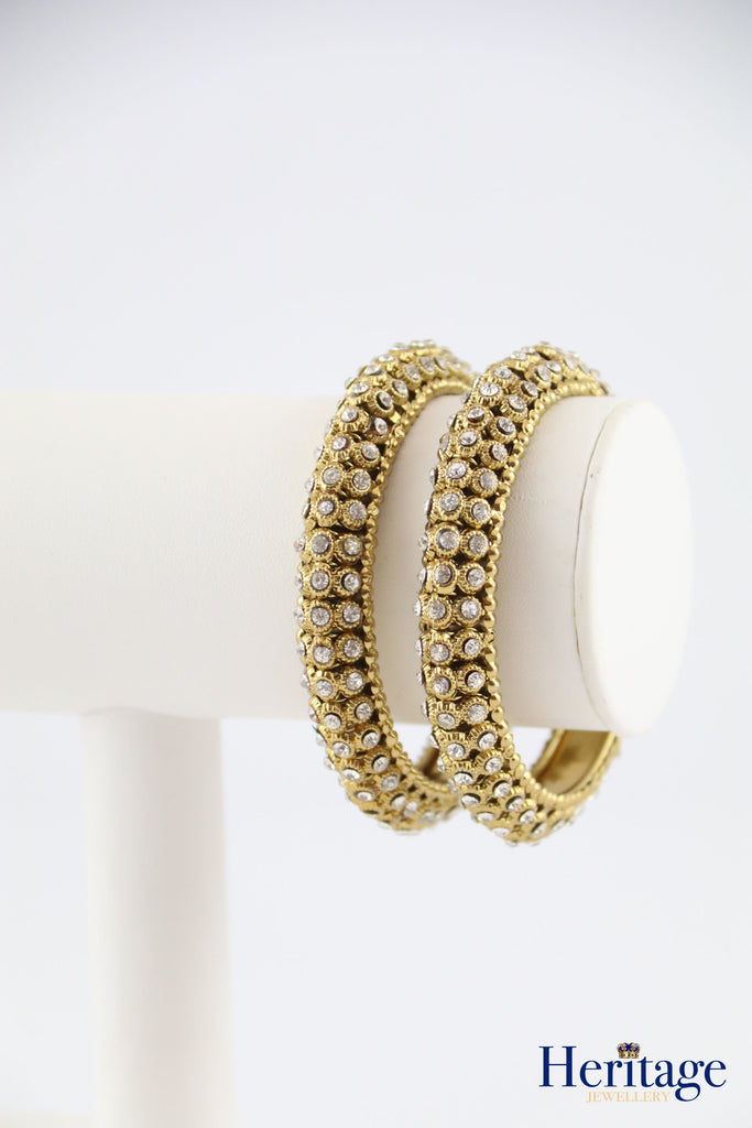 TRIPLE WHITE STONE BANGLE