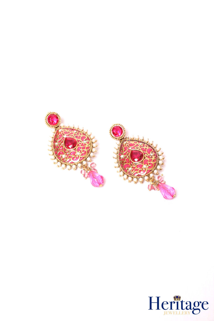 Antique gold, pink drop earrings with pearls