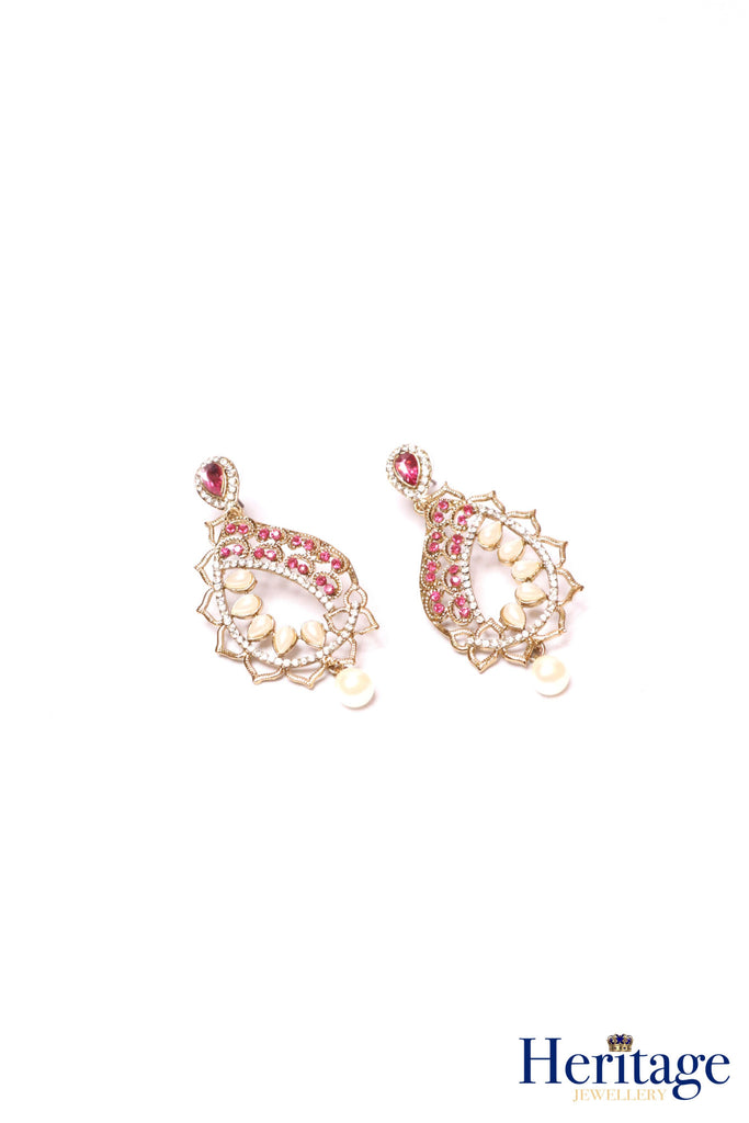 Antique gold, pink drop earrings featuring intricate cutwork, pearls and silver crystals