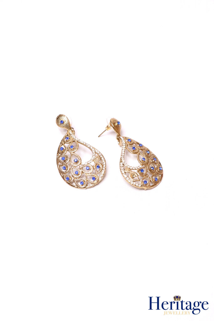 Antique gold, blue drop earrings featuring intricate cutwork, pearls and silver crystals