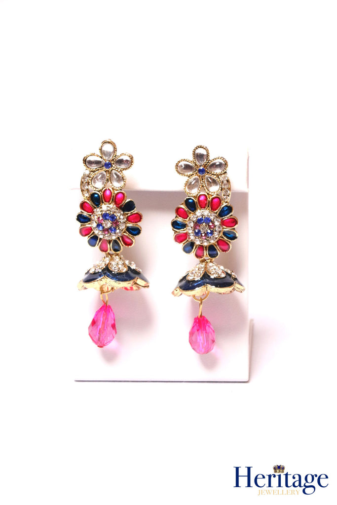 Antique gold, blue and pink flower, umbrella drop earrings featuring blue, pink and silver crystals