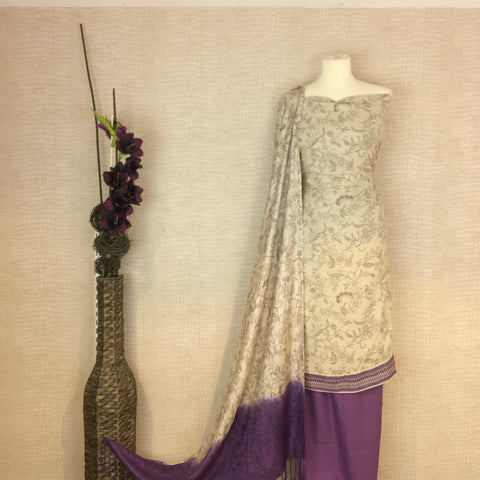 Alpine Suit with a Floral Self Print on Kameez and Alpine Shawl