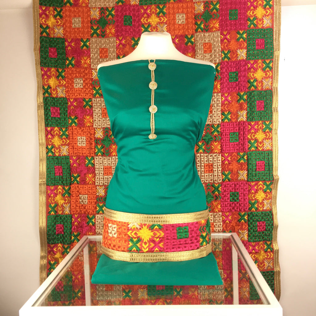 Designer Cotton Silk Suit with Buttons on Neck and Jaal Phulkari Threadwork Dupatta