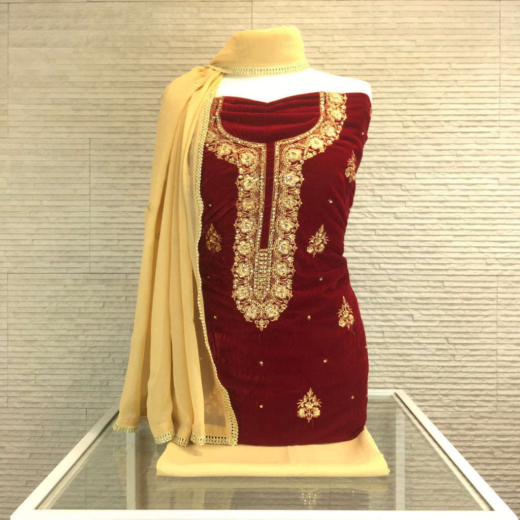 Velvet Kameez with Neck Embroidery
