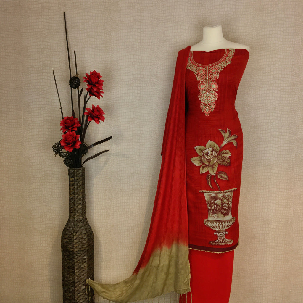 Alpine Suit with an Intricate Threadwork Neck Design on Kameez (G7)