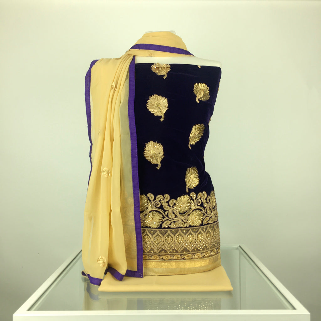Contrast Velvet Suit with Gold Salwar and Dupatta comes with Antique Embroidery