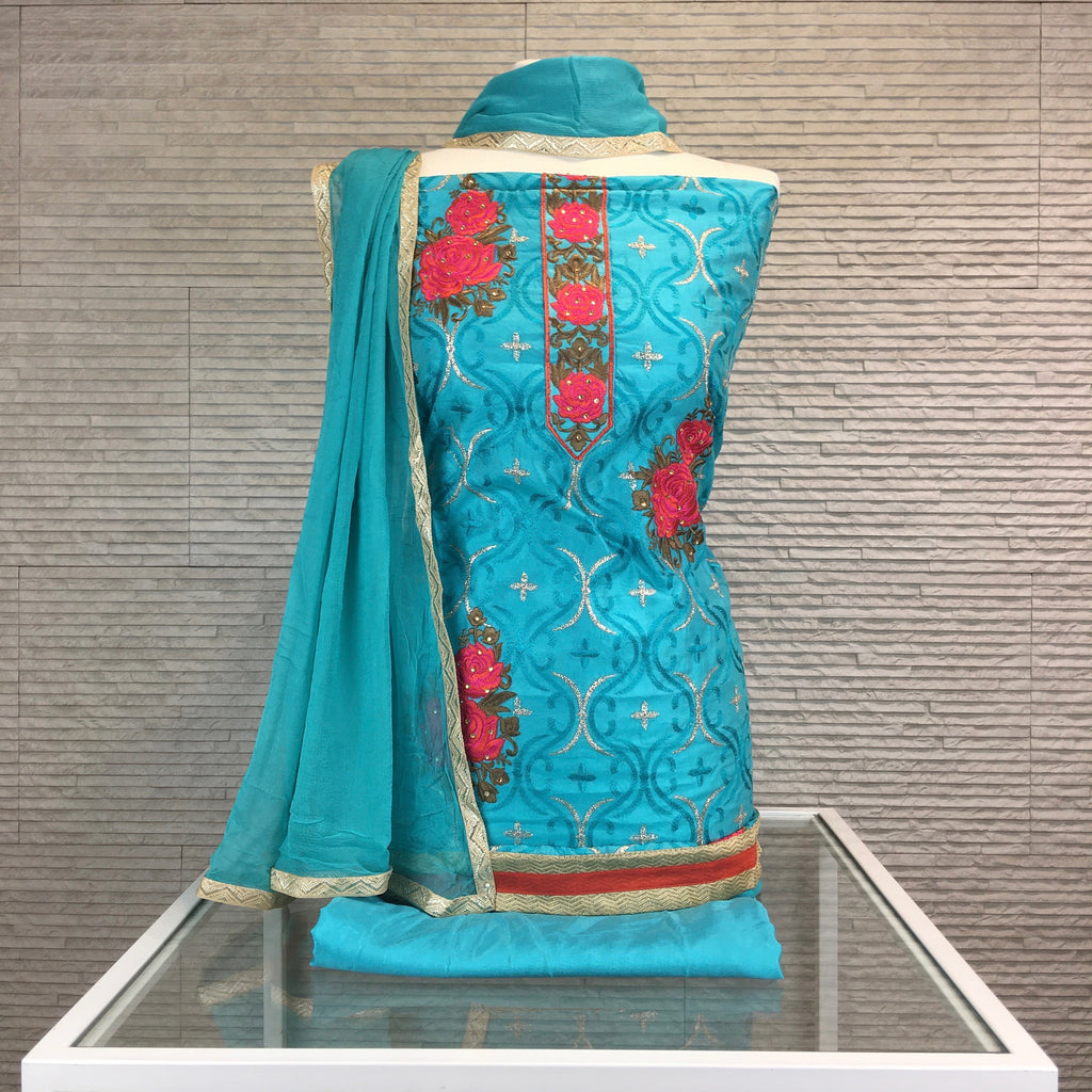Chandheri Suit with Contrast Phulkari Embroidery