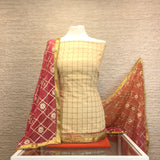 Designer Check Cotton Silk Suit with a Contrast Shaded Chiffon Duputta (B14)