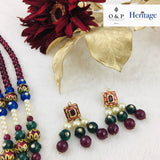 Multicoloured Semi-Precious Stone Rani Haar Set