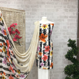 Designer Artsy Abstract Floral Crepe Print Suit