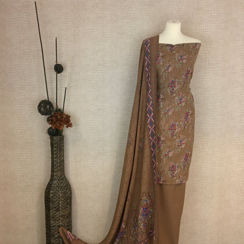 Alpine Suit with an Intricate Threadwork Neck Design on Kameez