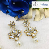 Tear Drop Kundan Effect Set with Pearl Drop
