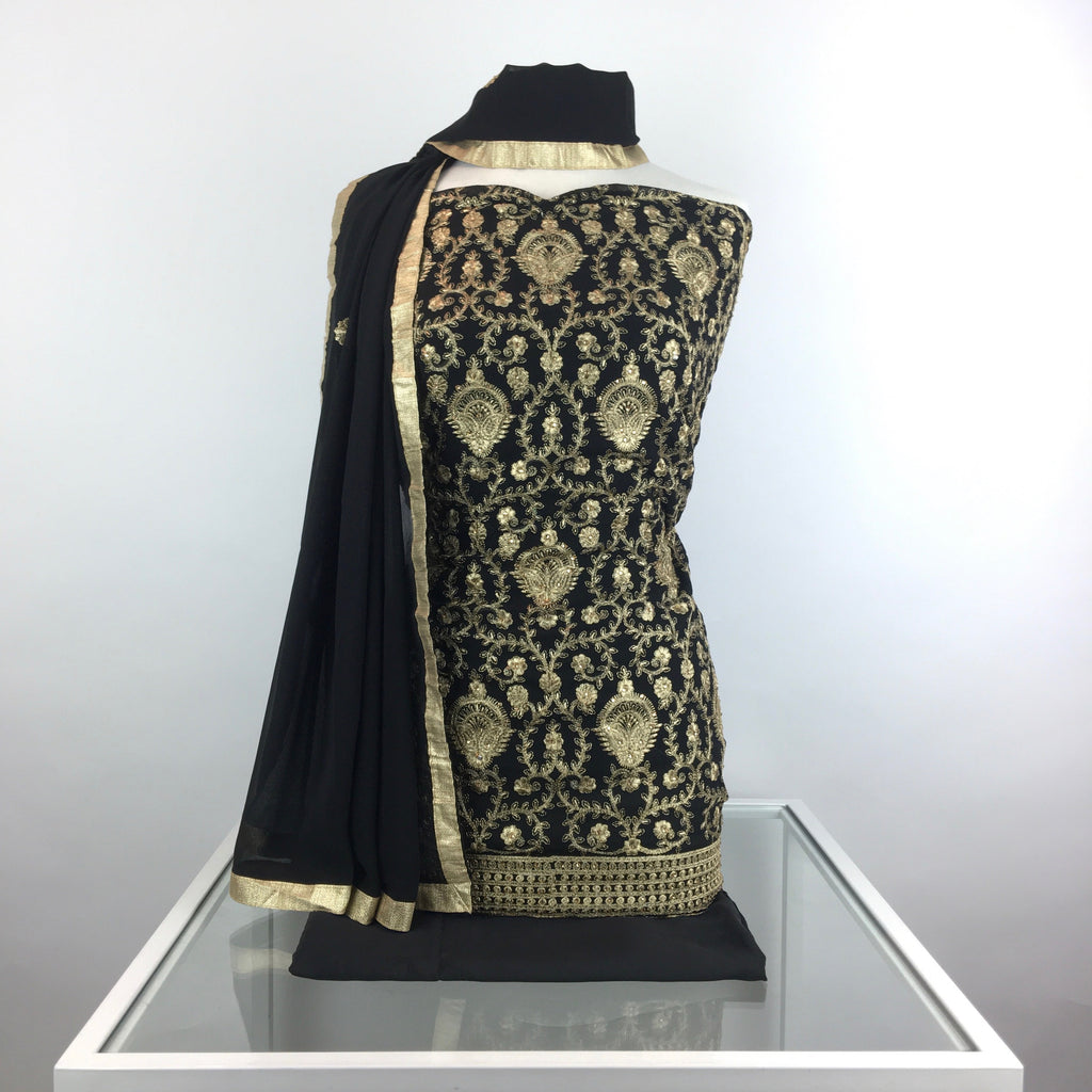 Georgette Suit with Antique Gold Jaal Embroidery & Stonework (V25)