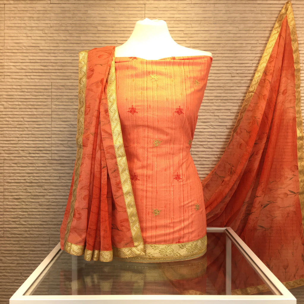 Striped Chandheri Suit with Self and Antique Embroidery