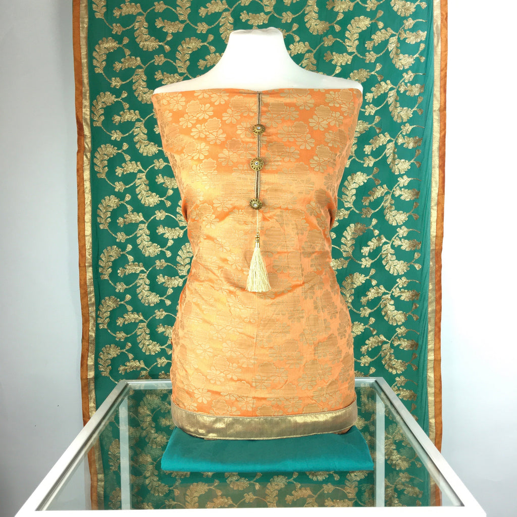 Chandheri Benarsi Suit with Buttons on Neck and Jaal Dupatta