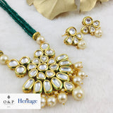 Green Beaded Kundan Effect Pendant Set