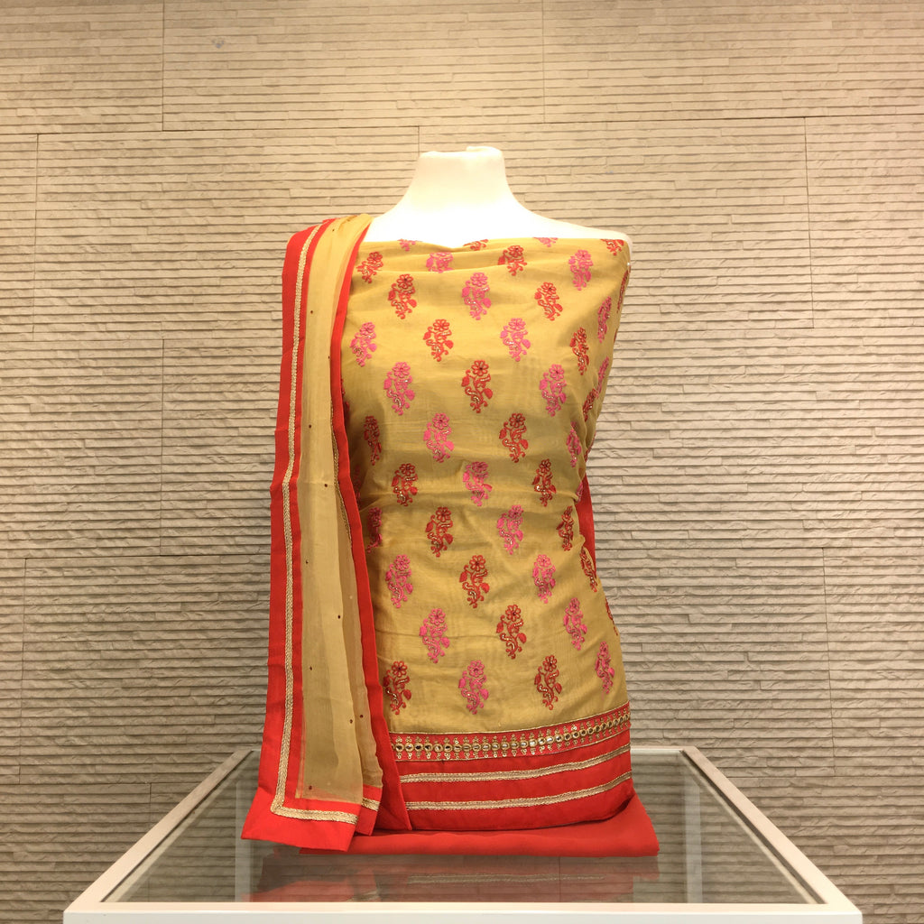Chandheri Suit with Contrast Motif Embroidery (B13)
