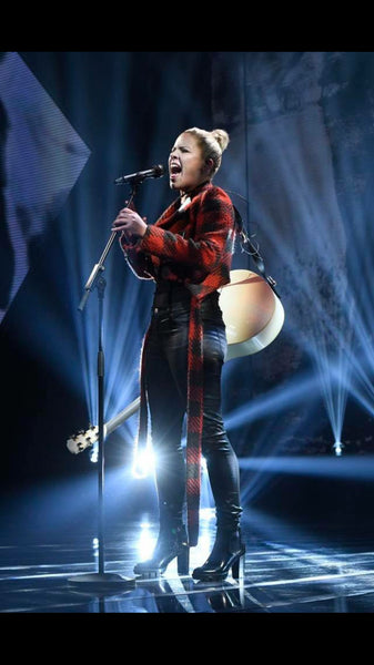 Samanta Gomez wearing KAY LI AWAIT plaid biker jacket on Danish x-Factor