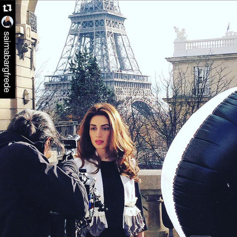 Iman Ali wearing KAY LI on Pakistani TVC filming in Paris