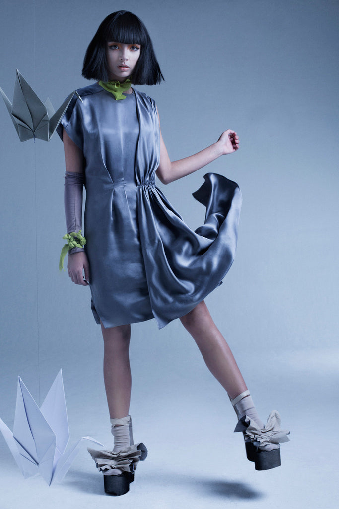 Asymmetric grey silk dress