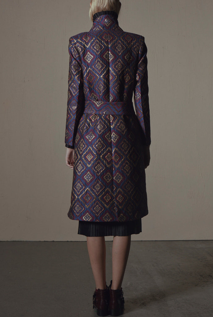 Fashion label KAY LI AW17 brocade coat