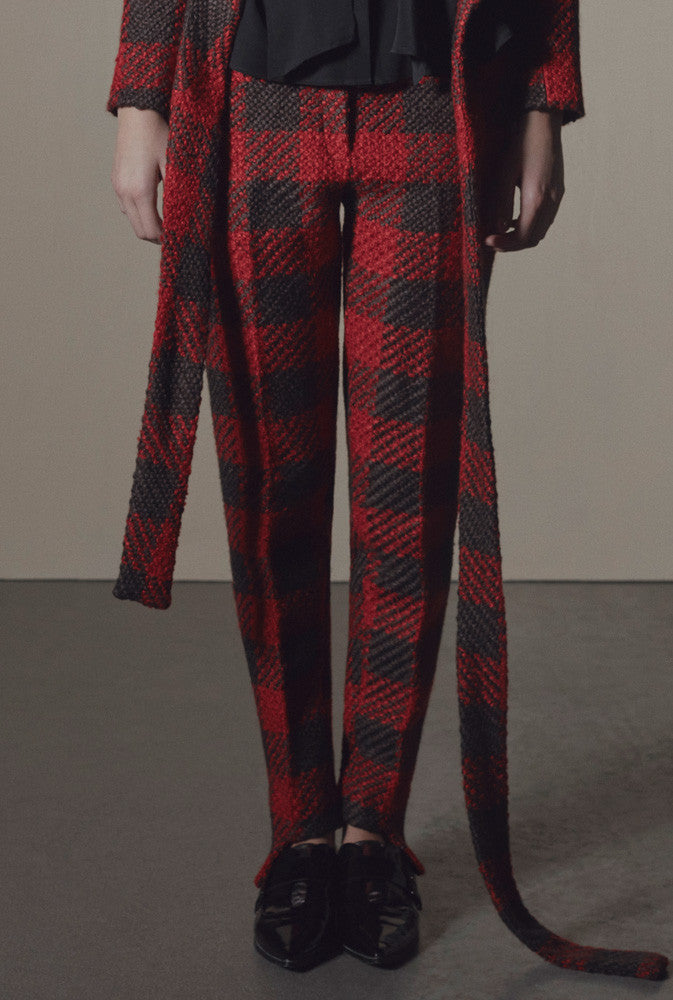 Fashion label KAY LI AW17 wollen red & black plaid trousers