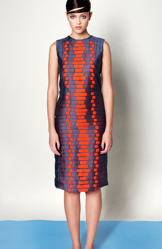 Sheath Dress with Weave Panel