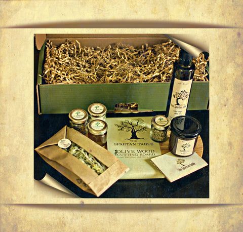 Collection of our finest, Gift box, Olive Oil, Honey Raw, Cutting board, mountain tea herbal, sea salt, oregano wild, thyme wild and more