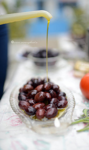 Black Olives in EVOO, Organic Kalamata Olives from our groves, 10oz pack