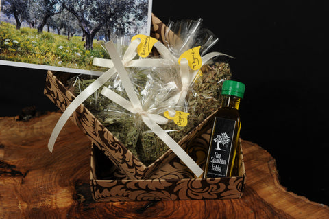 "Celebrating our new olive crop, ""Ambassador"" series :""The Gift from the Kings"", EVOO, wild herbs, sea salt, box."