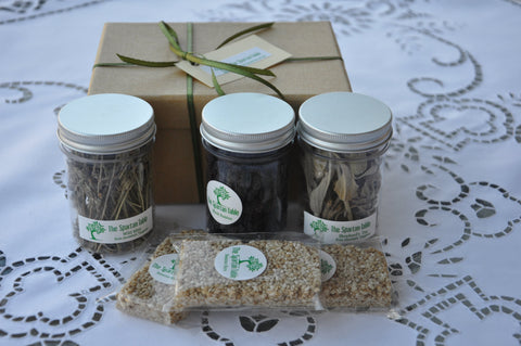 "Gift  Box, ""The Citizens"" series : ""Among Equals"", Wild Tea Herbs Sesame Bars and Black Raisins, The Spartan way"