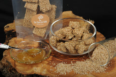 sesame bars with natural honey, thespartantable