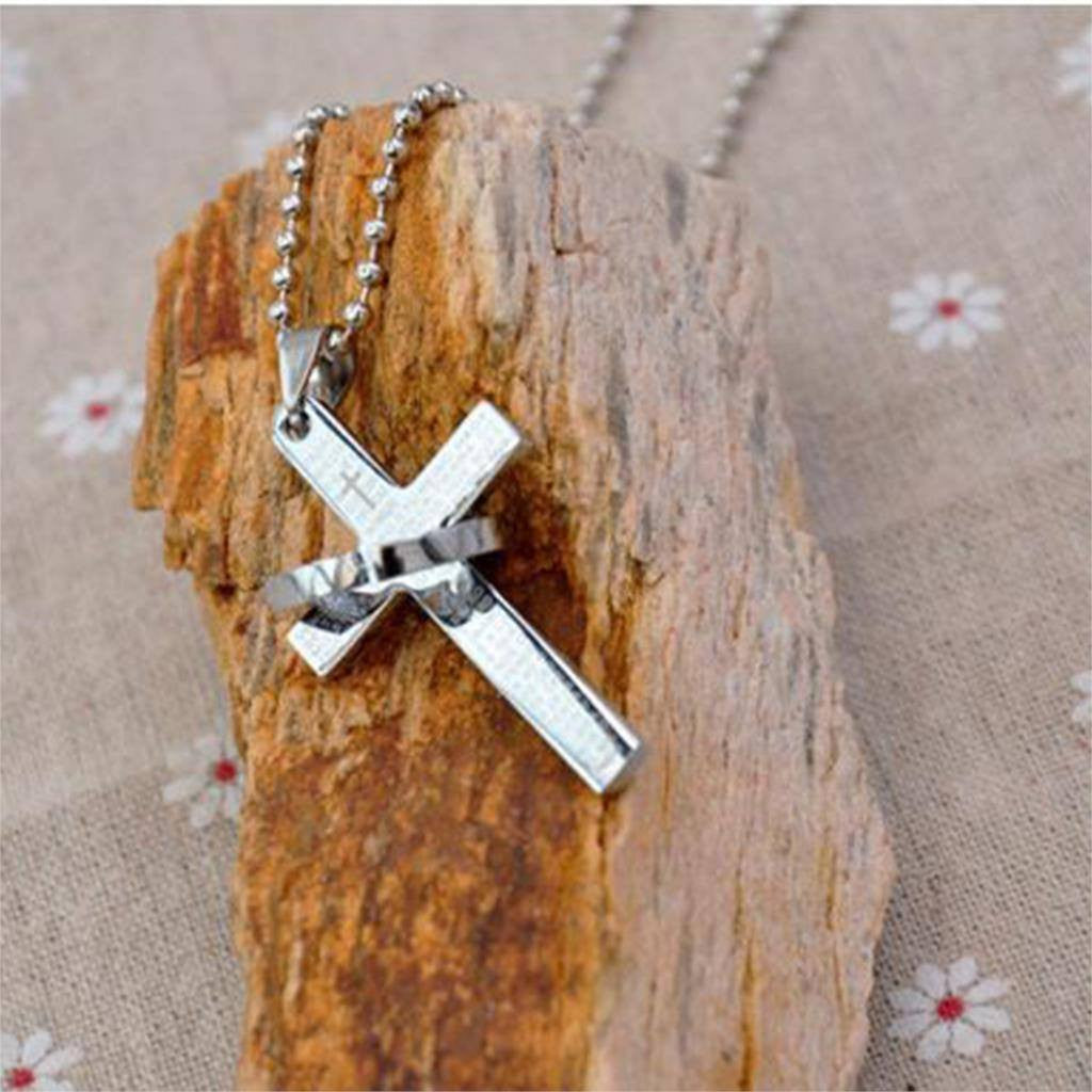 Itsuniquelymine Cross necklaces for women and guys in silver with silver ring