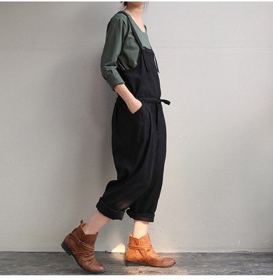 2016 Summer New Fashion Harem Pants Women Solid Color Pockets Cotton Linen Overalls Plus Size XXXL Loose Romper - Itsuniquelymine