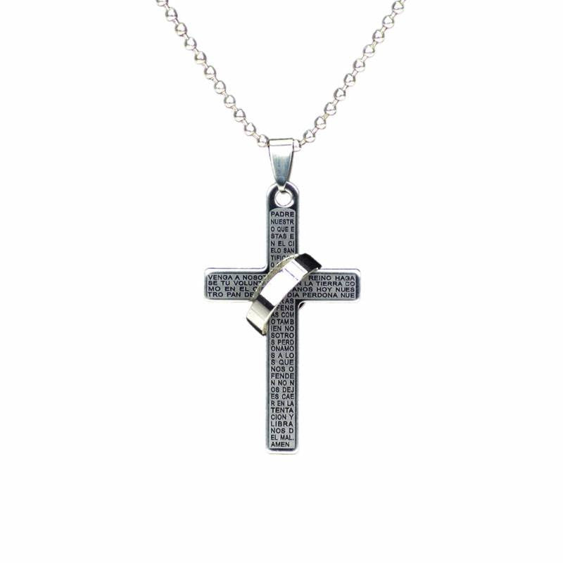 Itsuniquelymine Cross necklaces for women and guys in black with silver ring