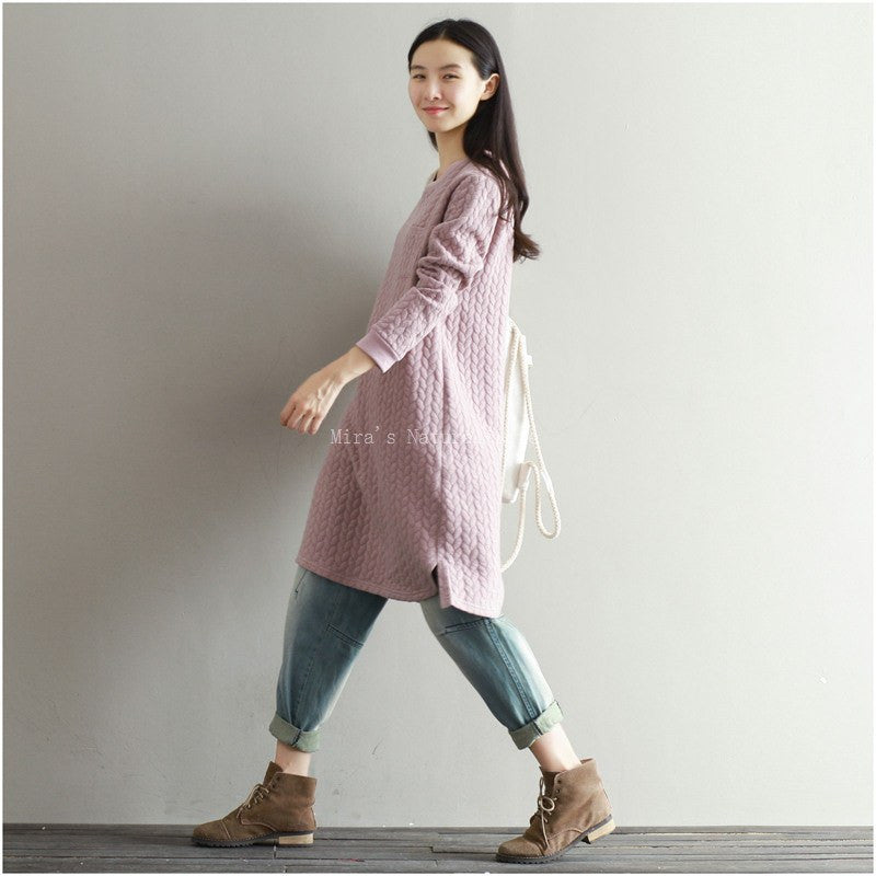 Anytime Dress Blue Pink knit print Dress with long sleeves - Itsuniquelymine