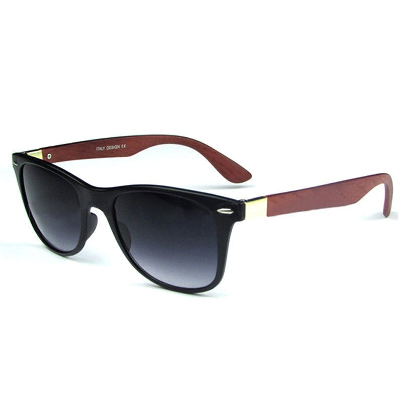 Itsuniquelymine men's Black sunglasses in hardwearing Bamboo with brown handles