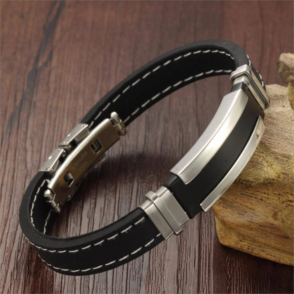 Cool and Fashionable Punk Silver Color Stainless Steel Bracelet Men