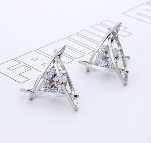 Fashion Exquisite Triangle Pierced Crystal Zircon Stud Earrings Jewelry For women