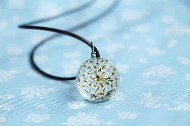 Hot Fashion  Pendant Crystal glass Ball with White flower and Long Strip Leather Chain - Itsuniquelymine